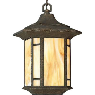 Arts and Crafts Collection Outdoor Hanging Weathered Bronze Lantern