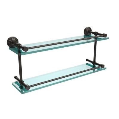 Waverly Place 22 in. W Double Glass Shelf with Gallery Rail in Oil Rubbed Bronze