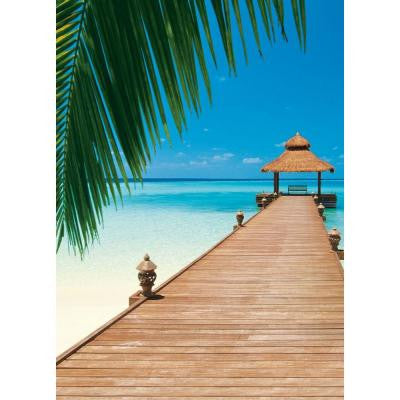 100 in. x 0.25 in. Paradise Beach Wall Mural