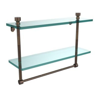 Foxtrot Collection 5 in. W x 16 in. L 2-Tiered Glass Shelf with Integrated Towel Bar in Venetian Bronze