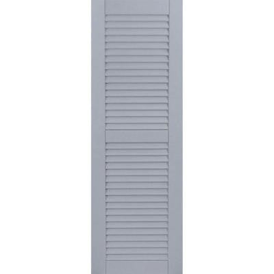12 in. x 62 in. Exterior Composite Wood Louvered Shutters Pair Unfinished