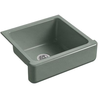 Whitehaven Farmhouse Apron-Front Cast Iron 23.5 in. Single Bowl Kitchen Sink in Basalt