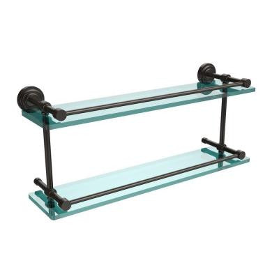 Dottingham 22 in. W Double Glass Shelf with Gallery Rail in Oil Rubbed Bronze