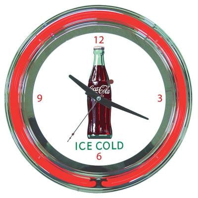 14 in. Coca-Cola Ice Cold Bottle Neon Wall Clock