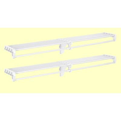 12 ft. Closet Organizer Kit with 2-Expandable Shelf & Rod Units in White with End Bracket