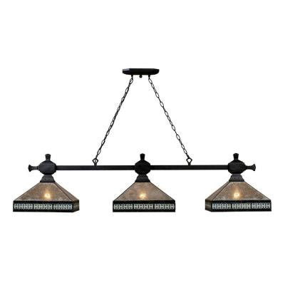 Mica Filagree 3-Light Ceiling Mount Tiffany Bronze Island Light