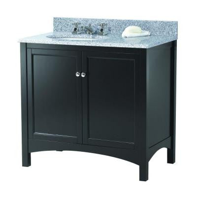 Haven 37 in. W x 22 in. D Vanity in Espresso with Granite Vanity Top in Napoli with Left Offset White Basin