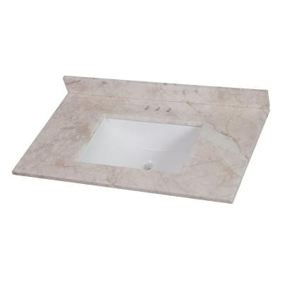 37 in. Stone Effects Vanity Top in Dune with White Basin