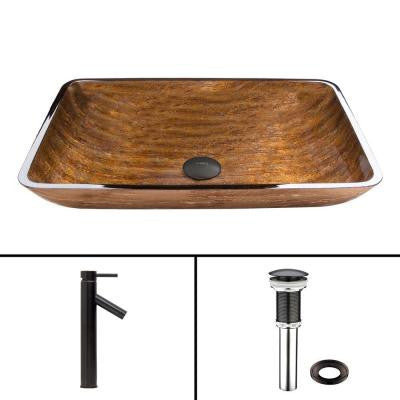 Glass Vessel Sink in Amber Sunset and Dior Faucet Set in Antique Rubbed Bronze