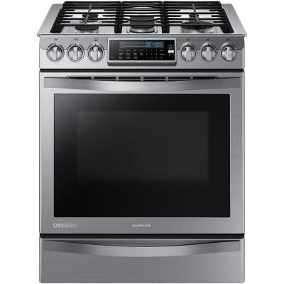 Chef Collection 30 in. 5.8 cu. ft. Slide-In Gas Range with Self-Cleaning Convection Oven in Stainless Steel