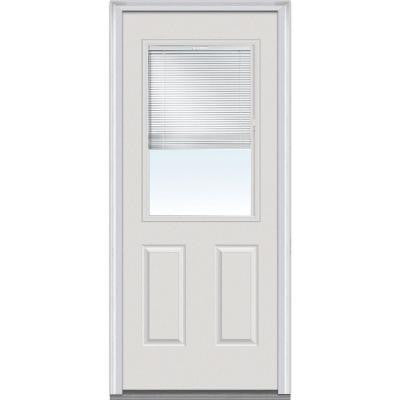 32 in. x 80 in. Internal Mini Blinds Clear Glass 1/2 Lite 2-Panel Primed White Fiberglass Smooth Prehung Front Door