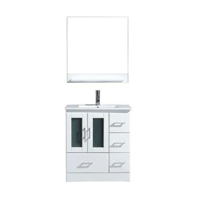 Zola 30 in. Vanity in White with Ceramic Vanity Top in White and Mirror