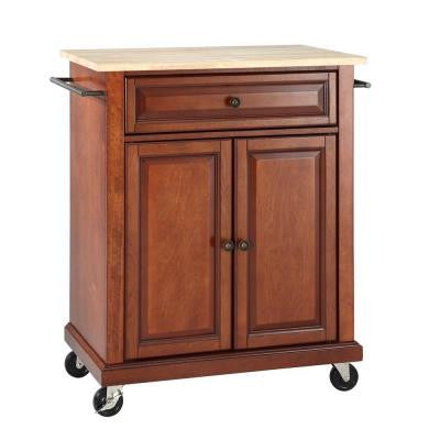 28-1/4 in. W Natural Wood Top Mobile Kitchen Island Cart in Cherry