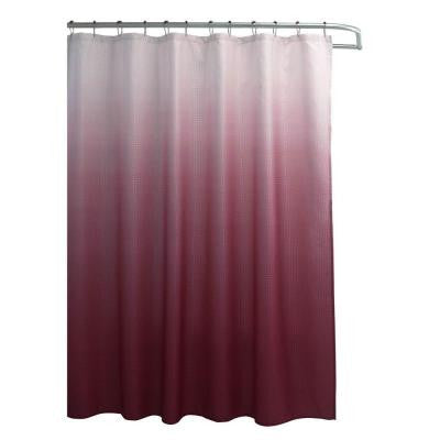 Ombre Waffle Weave 70 in. W x 72 in. L Shower Curtain with Metal Roller Rings in Red