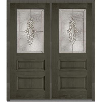 72 in. x 80 in. Heirloom Master Decorative Glass 1/2 Lite Finished Oak Fiberglass Double Prehung Front Door