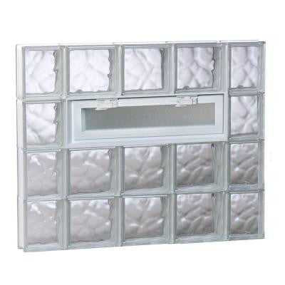 34.75 in. x 31 in. x 3.125 in. Vented Wave Pattern Glass Block Window