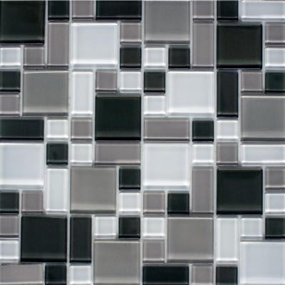 Peel and Stick Gray and White 12 in. x 12 in. x 6 mm Glass Mosaic Wall Tile