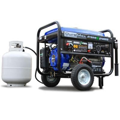 4,400-Watt Hybrid Dual Fuel Propane/Gas Powered Electric Start Portable Generator with Wheel Kit