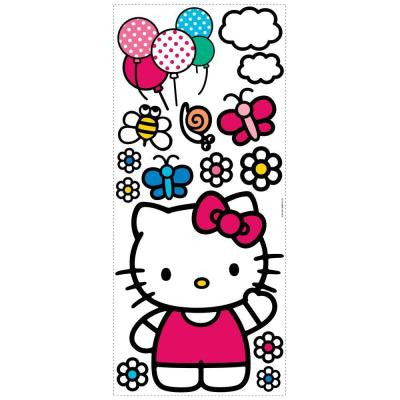 18 in. x 40 in. Hello Kitty - The World of Hello Kitty 15-Piece Peel and Stick Giant Wall Decals