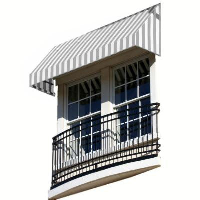 3 ft. New Yorker Window/Entry Awning (18 in. H x 36 in. D) in Gray / White Stripe