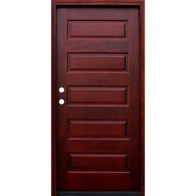 36 in. x 80 in. Contemporary 5-Panel Stained Wood Mahogany Prehung Front Door with 6 Wall Series