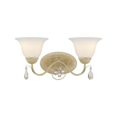 2-Light Antique White Vanity Fixture with Etched White Glass