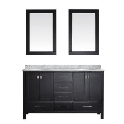 Gela 60 in. W x 22 in. D x 35 in. H Vanity in Espresso with Marble Vanity Top in White with Basin and Mirror