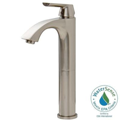 Linus Single Hole 1-Handle Bathroom Vessel Faucet in Brushed Nickel