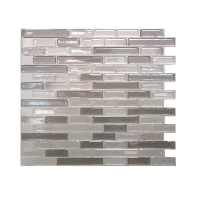 Muretto 10.25 in. W x 9.125 in. H Beige Mosaic Decorative Wall Tile in Light Grey