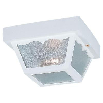 2-Light Outdoor White Ceiling Fixture