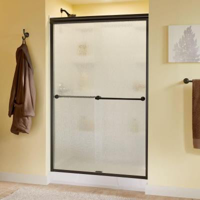 Crestfield 47-3/8 in. x 70 in. Semi-Framed Bypass Sliding Shower Door in Oil Rubbed Bronze with Rain Glass