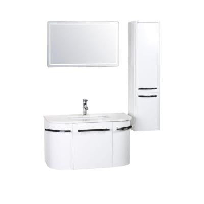 Bianca 36 in. W x 19.68 in. D Vanity in White with Phoenix Stone Vanity Top in White with White Basin and Mirror
