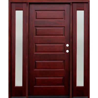 70 in. x 80 in. Contemporary 5-Panel Stained Mahogany Wood Prehung Front Door with 12 in. Reed Sidelites