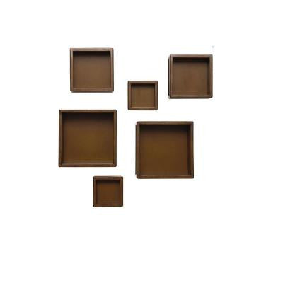 Kids Wood Tone 6 Piece Wall Storage Cubes in Assorted Sizes