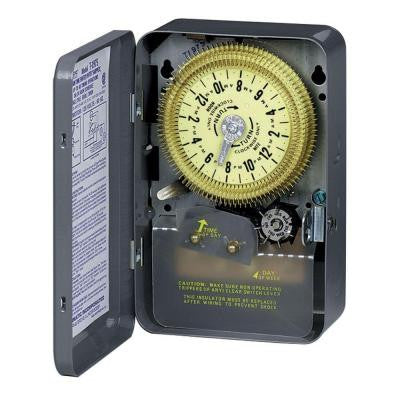 T1970 Series 20-Amp 24-Hour Mechanical Time Switch with Skipper and Indoor Enclosure - Gray