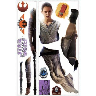 5 in. W x 19 in. H Star Wars EP VII Rey 13-Piece Peel and Stick Giant Wall Decal