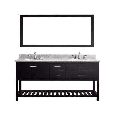 Caroline Estate 72 in. Double Vanity in Espresso with Marble Vanity Top in Italian Carrara White and Single Mirror