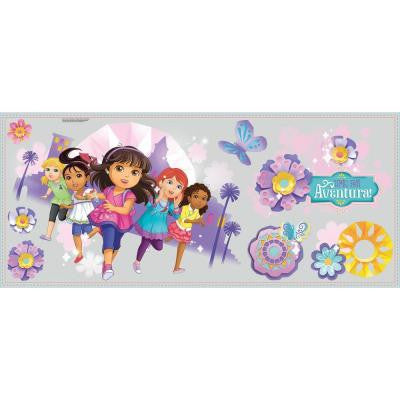 5 in. x 19 in. Dora and Friends 8-Piece Peel and Stick Wall Decal Graphix