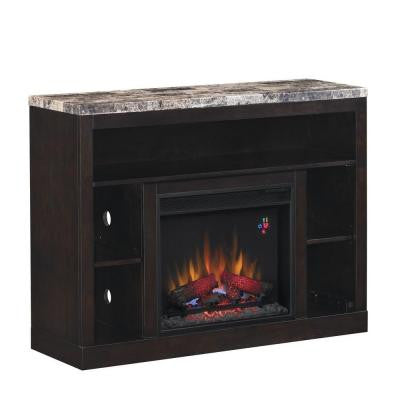 Adams 47.5 in. Media Mantel Electric Fireplace in Coffee Black