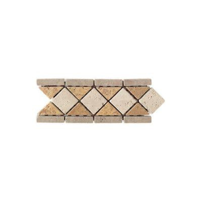 Travertine Antalya/Gold/Ivory Blend 4 in. x 12 in. Tumbled Slate Diamond Border Accent Wall Tile