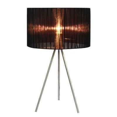 19.69 in. Brushed Nickel Tripod Table Lamp with Black Pleated Silk Sheer Shade