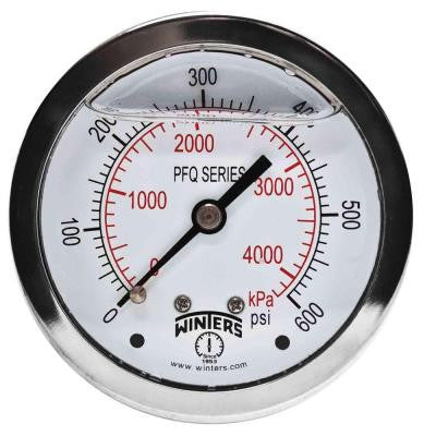PFQ Series 2.5 in. Stainless Steel Liquid Filled Case Pressure Gauge with 1/4 in. NPT CBM and Range of 0-600 psi/kPa