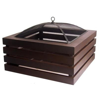 Sojourn 33 in. Square Modern Slat Fire Pit