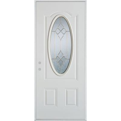 32 in. x 80 in. Geometric Brass 3/4 Oval Lite 2-Panel Prefinished White Right-Hand Inswing Steel Prehung Front Door