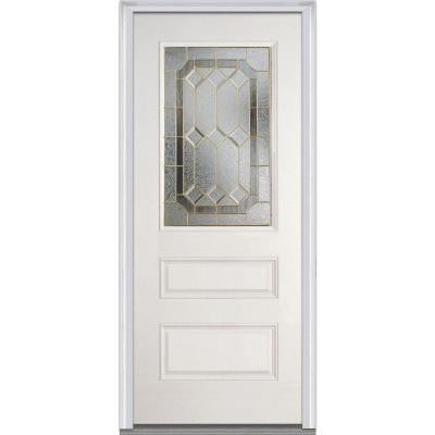 36 in. x 80 in. Majestic Elegance Decorative Glass 1/2 Lite 2-Panel Primed White Fiberglass Smooth Prehung Front Door