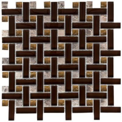 Tessera Basketweave Mink 11 in. x 11 in. x 8 mm Glass and Stone Mosaic Wall Tile