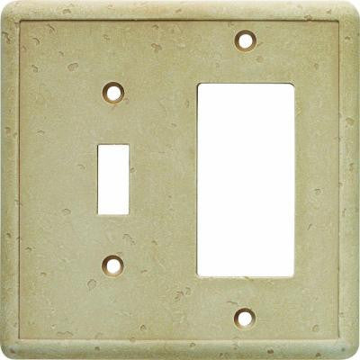 2 Gang 2 Combination Wall Plate - Travertine
