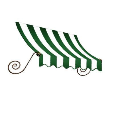 10 ft. Charleston Window Awning (44 in. H x 24 in. D) in Forest/White Stripe