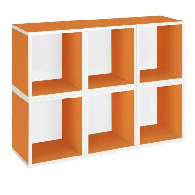 zBoard Eco 40.2 in. x 30.9 in. Orange Stackable Modular 6-Cube Plus Storage