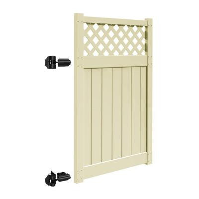 Valley 4 ft. x 6 ft. Sand Vinyl Un-Assembled Fence Gate